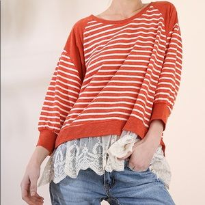 New! Umgee Rust & ivory striped lace trim top